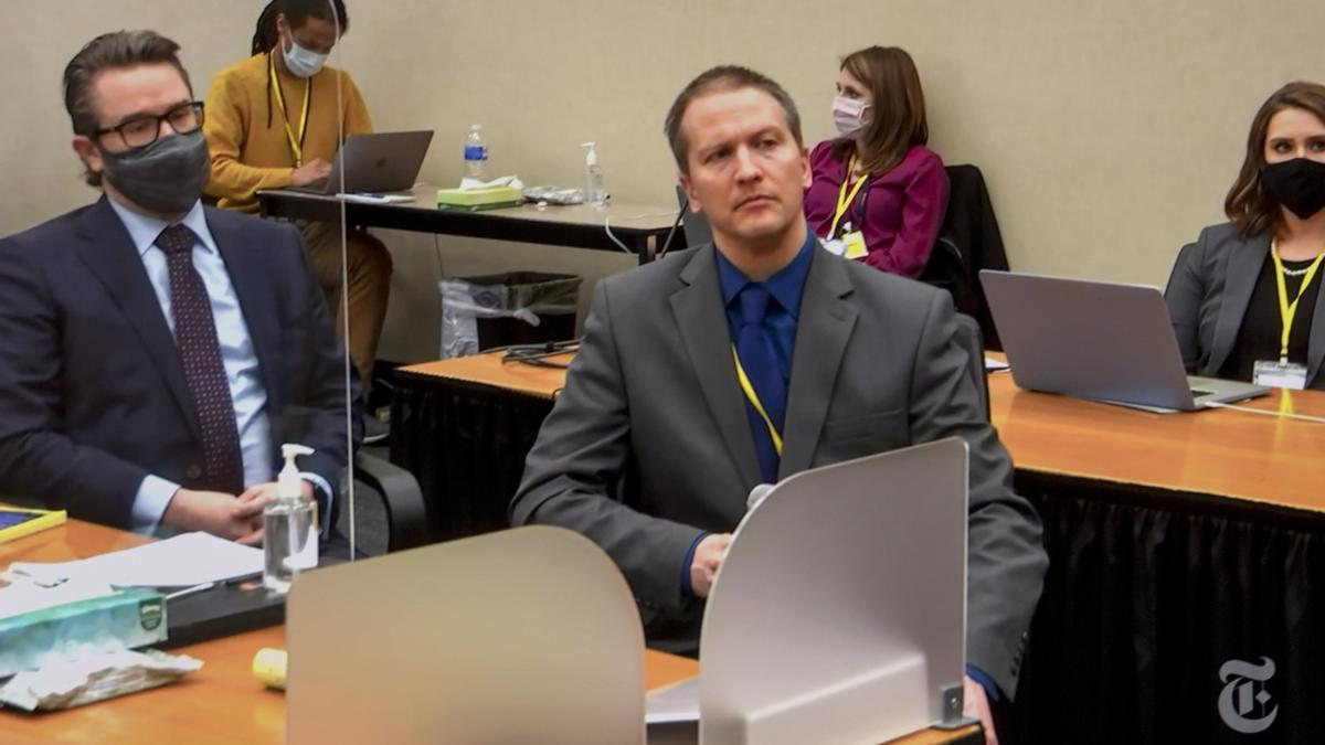 Derek Chauvin durante el juicio por el asesinato de George Floyd.