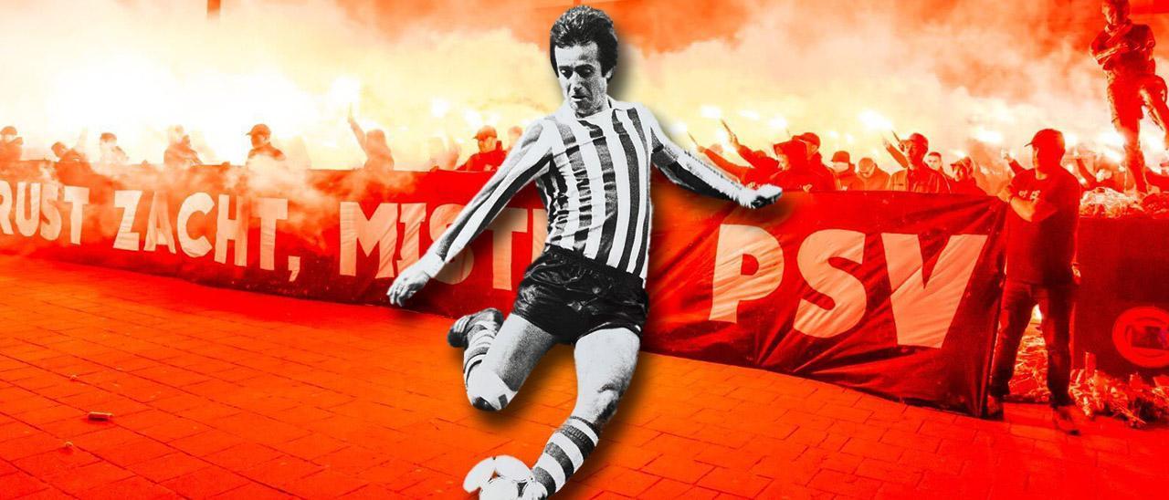 Imagen de fondo: Los hinchas del PSV homenajean a Van der Kuijlen tras su muerte. Delante: Van der Kuijlen remata con la pierna derecha en un partido con el PSV