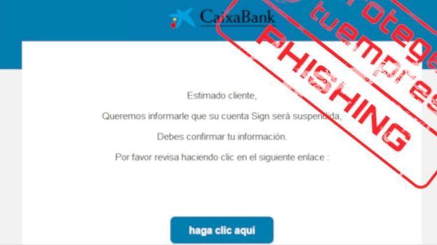Crecen las estafas a clientes de Caixabank a través de un correo electrónico