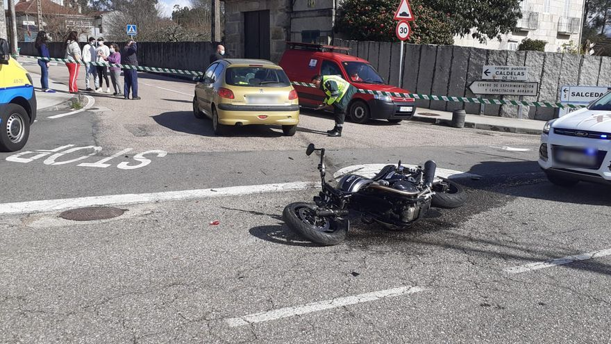 Muere el motorista que había sido reanimado en Tui por dos policías