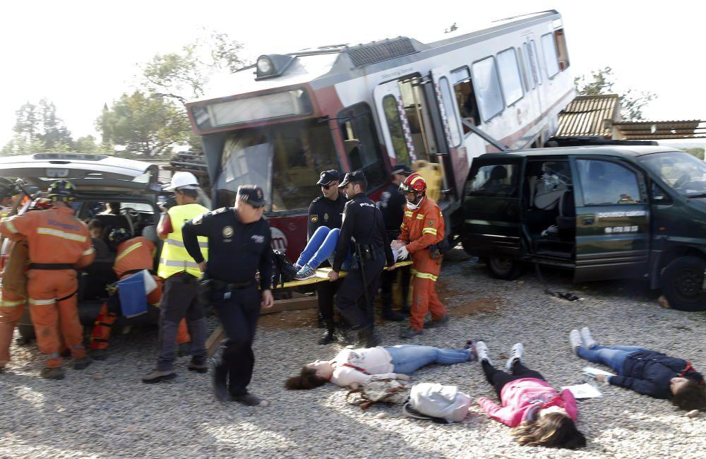 Simulacro de un accidente en el metro de Valencia.