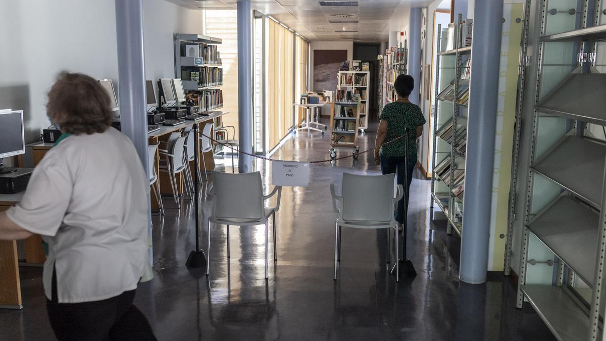 Áreas de la Biblioteca Pública del Estado con acceso restringido durante la pandemia.