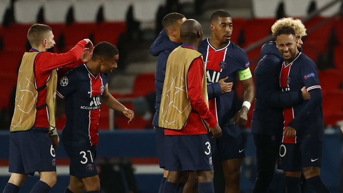 PSG players celebrate their move to the Champions League semi-finals.