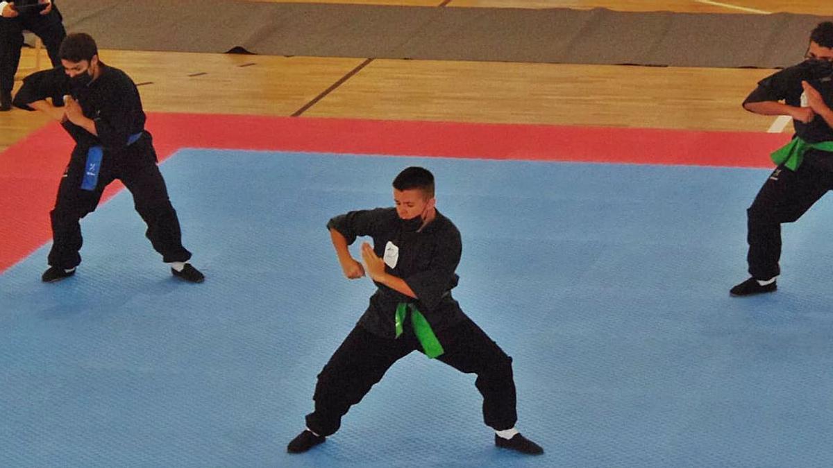 Una de las pruebas del campeonato de Kung Fu celebrado este domingo en Tui | .