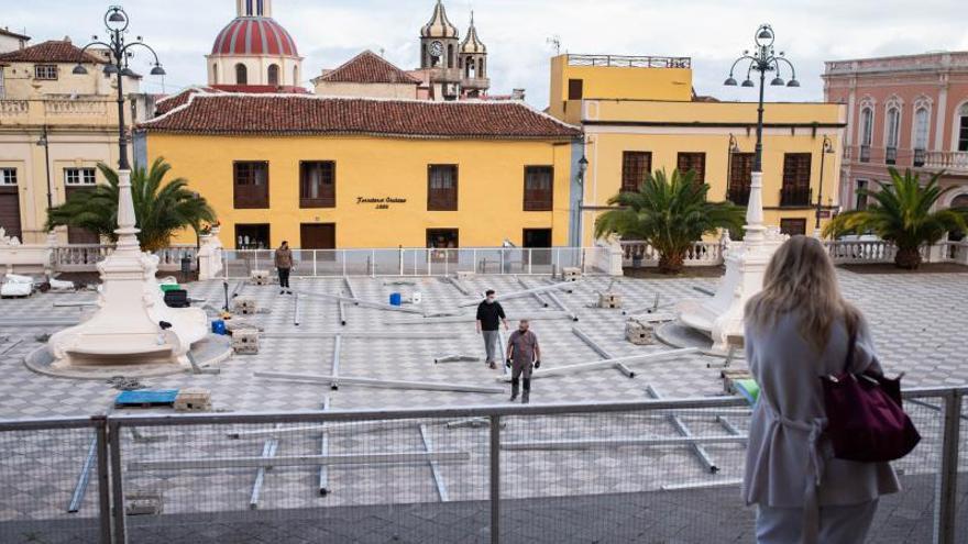 Una parte de la gran alfombra del Corpus se trasladará de la plaza a la iglesia