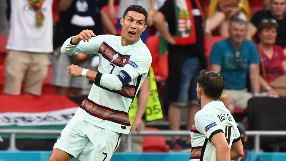 Cristiano Ronaldo celebra un gol ante Hungría.