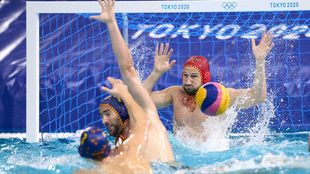 Partido de la selección española masculina de waterpolo.