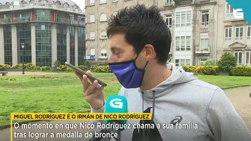 Nico Rodríguez, el vigués de bronce, al teléfono con su hermano: ¡Lumeee!