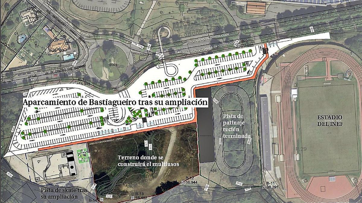 Ubicación del futuro edificio multiusos de Bastiagueiro, en el entorno de INEF. |   // LA OPINIÓN