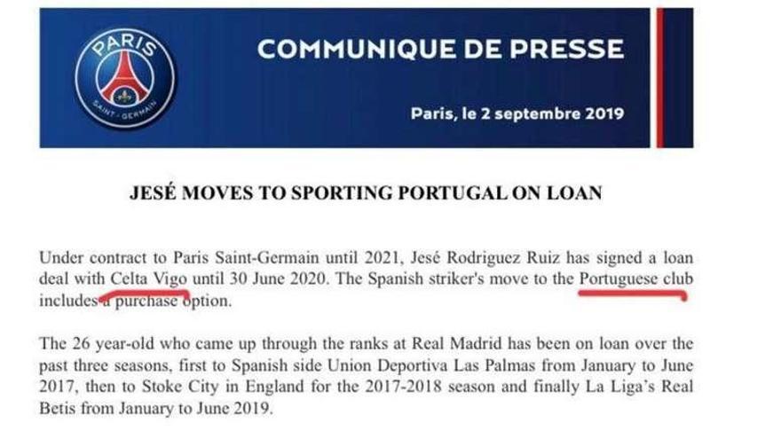 El PSG cita por error al Celta en el comunicado de la cesión de Jesé al Sporting de Lisboa