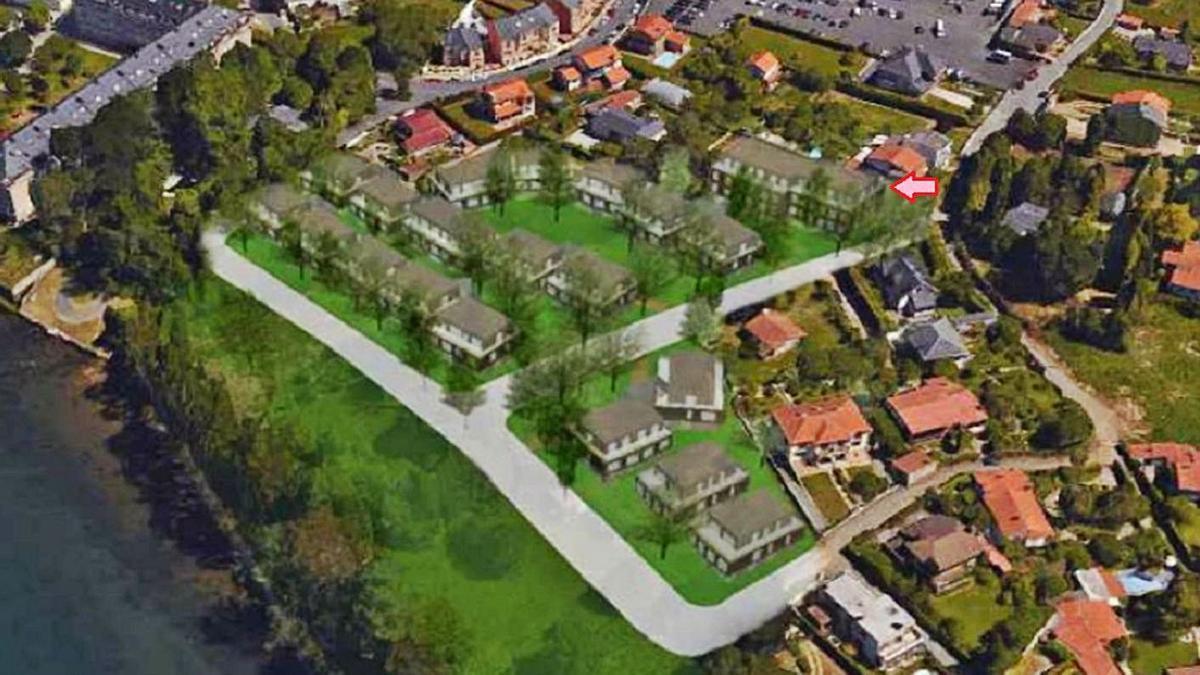 Recreación de la urbanización O Paraíso, con el edificio donde se hace el cambio al fondo. |   // L.O.