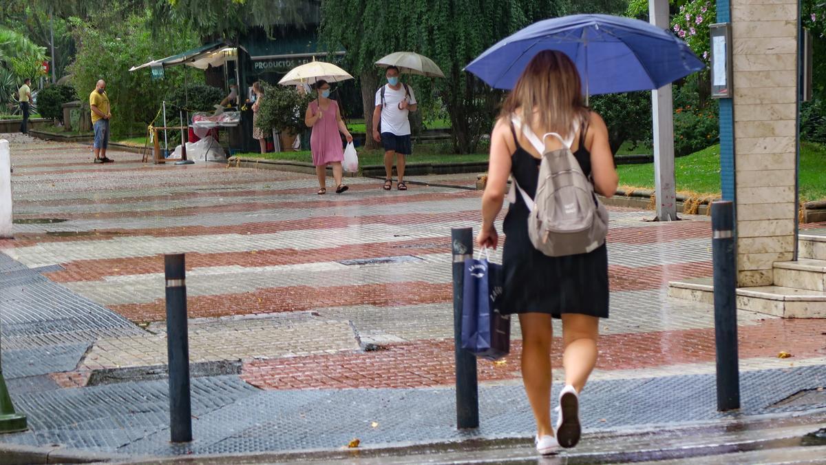 Día lluvioso en Cáceres.