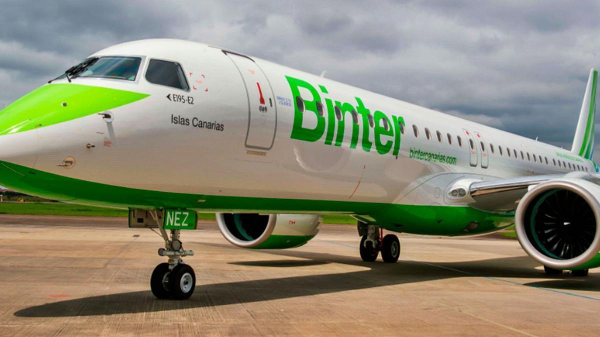Una de las unidades del Embraer E195-E2 adquiridos por la aerolínea Binter.