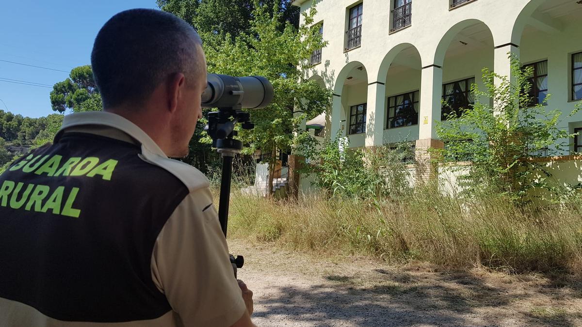 Un guardia rural realizando un censo de aviones comunes en el molino del Termet (Vila-real).