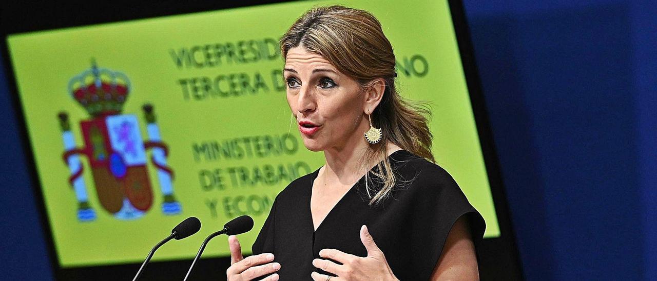 La ministra de Trabajo, Yolanda Díaz, el pasado viernes. | EFE/FERNANDO VILLAR