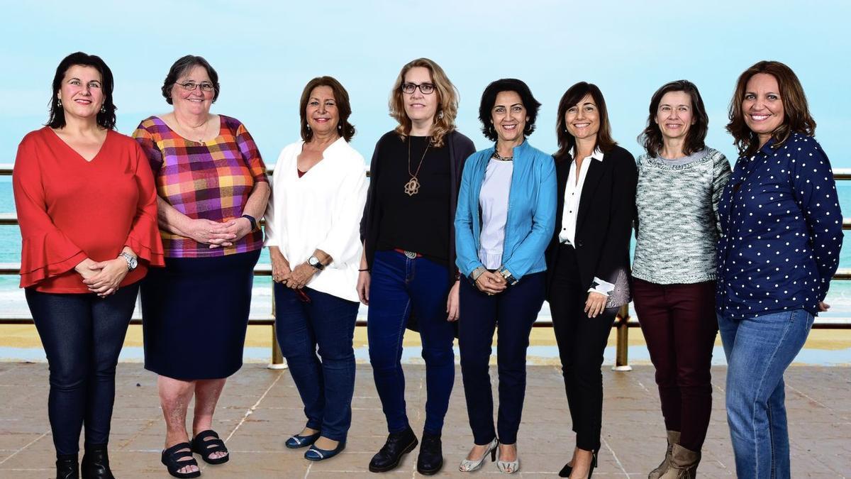 Margarita García;  Antonia Rodríguez;  Mª Concepción Pérez;  Elena Pérez;  Marta León;  Mª Mar Naughty;  Maria Falcón;  and Aniuska Sutil