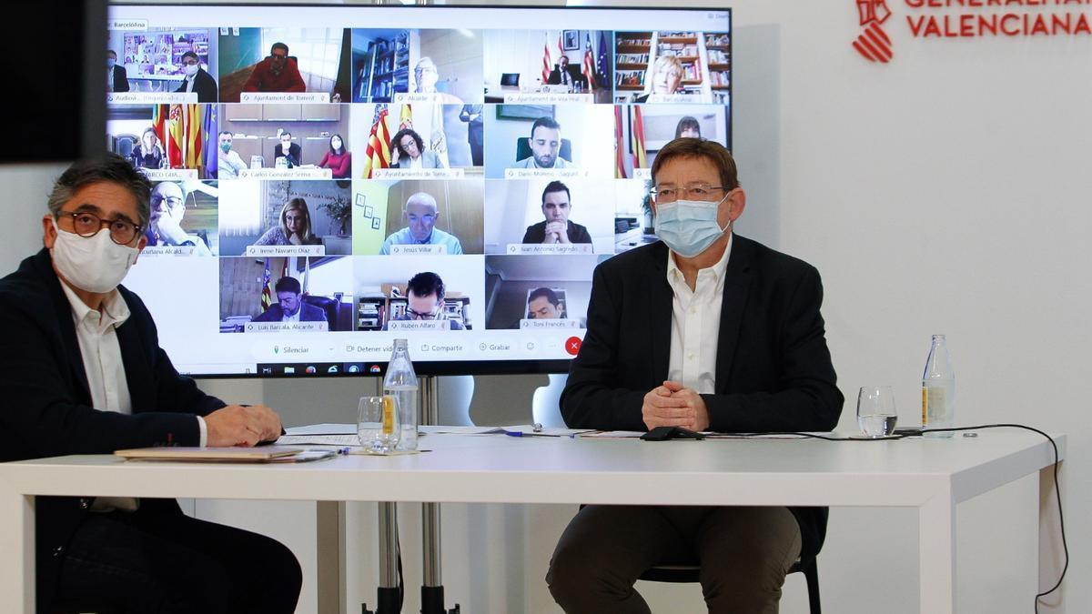 Puig, durante la reunión donde ha explicado el Plan de Vacunación contra el coronavirus en la Comunitat.