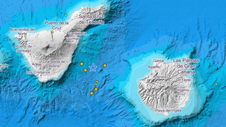 Enjambre sísmico entre Gran Canaria y Tenerife