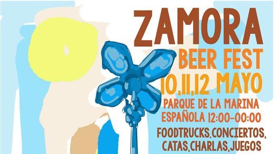 Cartel promocional del festival de cerveza Zamora Beer Fest que tendrá lugar en el parque de La Marina del 10 al 12 de mayo.