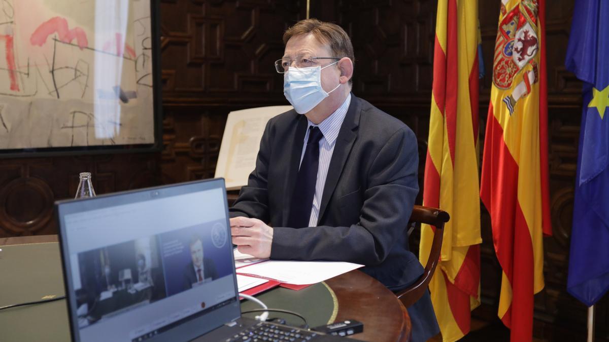 Ximo Puig en su reunión telemática con el ministro finlandés