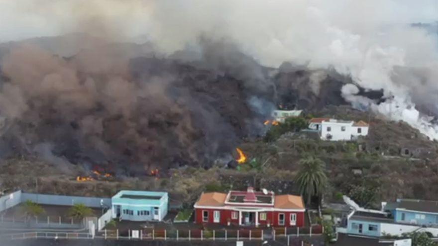 Vista aérea de la lava en Todoque