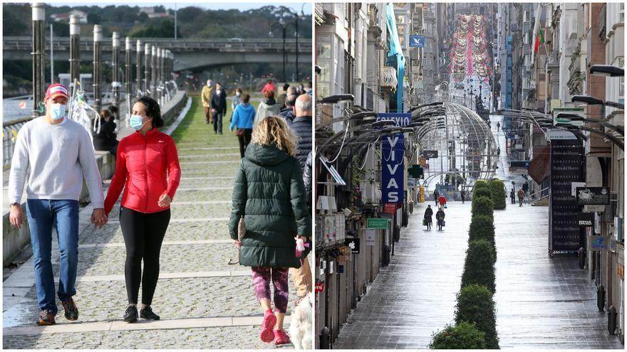 El centro de Vigo, vacío, y las zonas de paseo, más concurridas