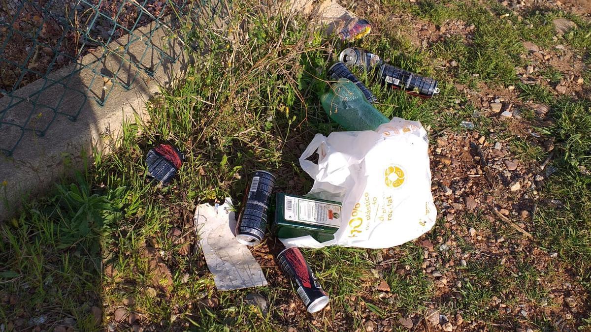 Los vecinos denuncian que en el término municipal se acumula basura de los botellones.