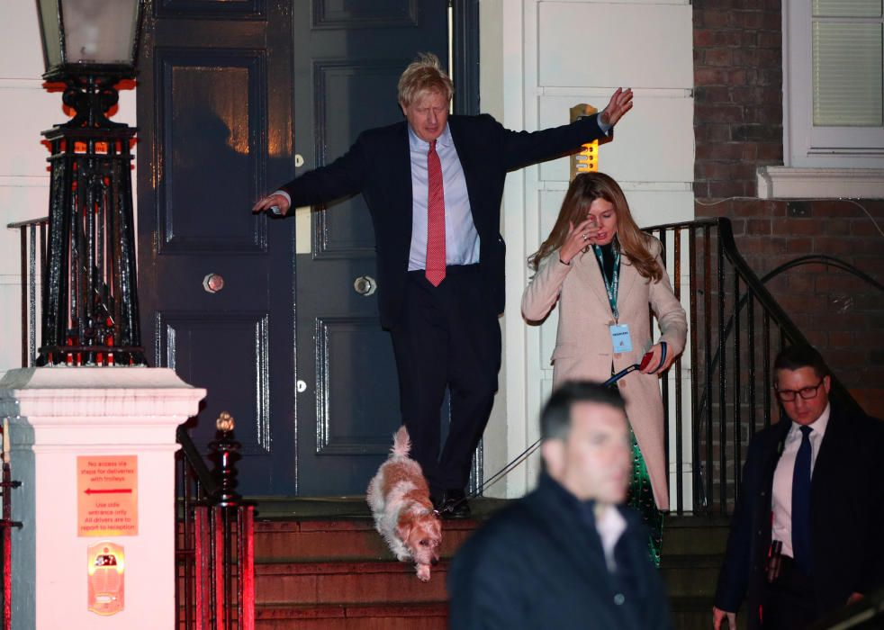 Boris Johnson, tras saber que el Partido Conservador ha logrado la mayoría absoluta.