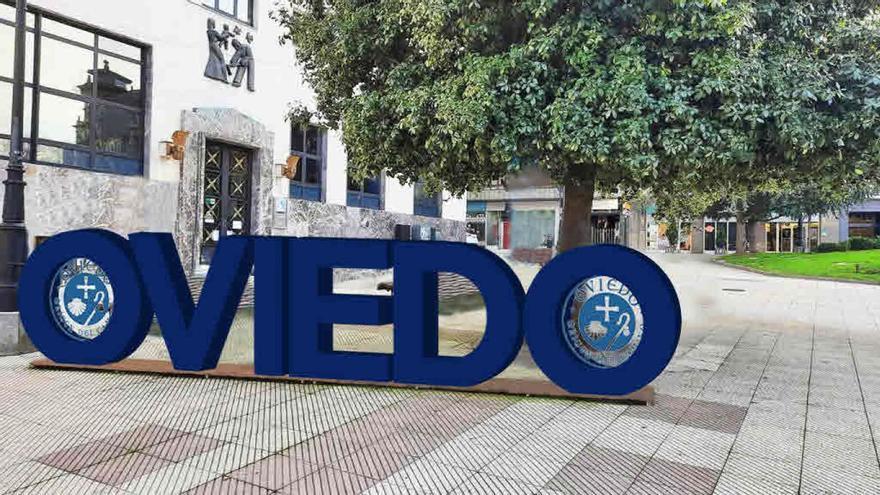 """Oviedo renovará las """"letronas"""" de la plaza del Carbayón con otras más luminosas que promocionarán el turismo jacobeo"""
