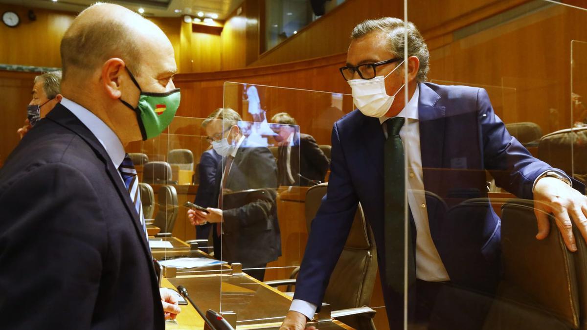 El portavoz de Vox, Santiago Morón, conversa con el presidente del PP Aragón, Luis María Beamonte, al inicio del pleno.