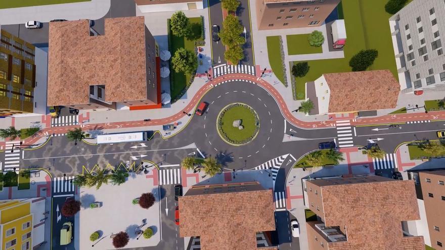 Así es la recreación virtual de la implantación del carril bici en Lugones: de la Avenida de Viella a la glorieta de confluencia con las calles Covadonga y Paulino Vicente
