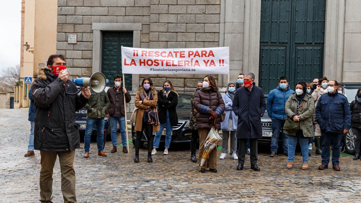 Protesta de los hosteleros en Segovia el pasado día 9 contra las medidas impuestas por la Junta.