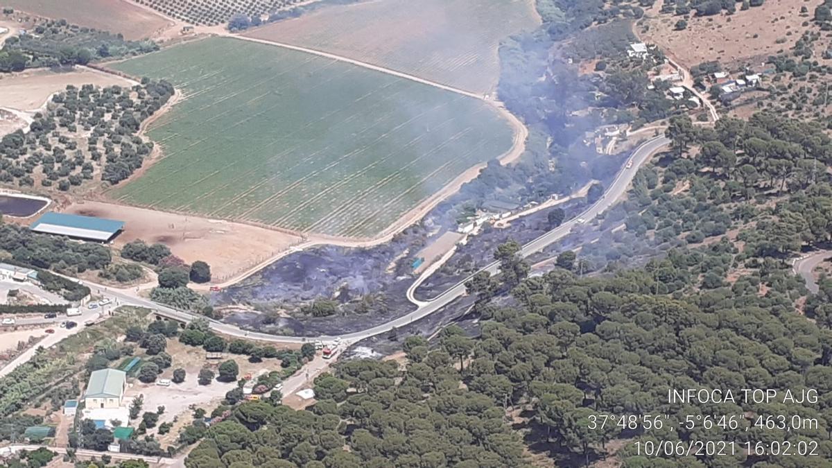 Vista del incendio, en una imagen cedida por el Plan Infoca.