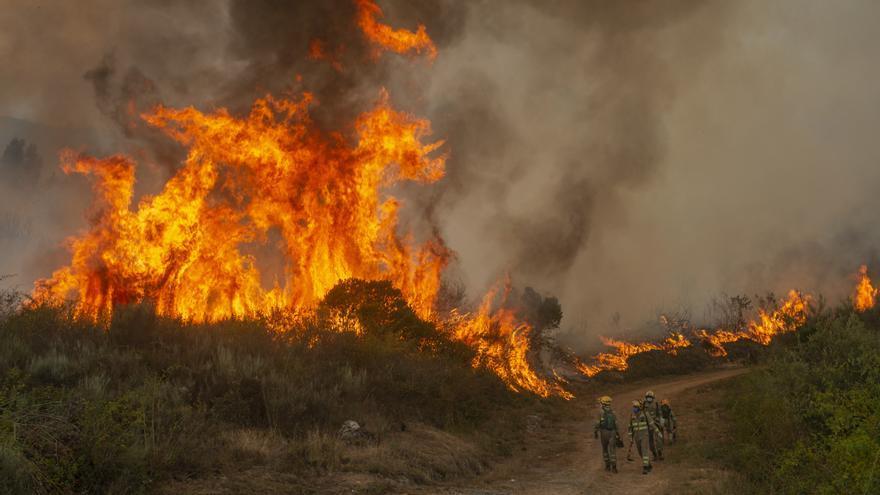Un incendio de al menos 130 hectáreas en Valdeorras moviliza medios de varios distritos