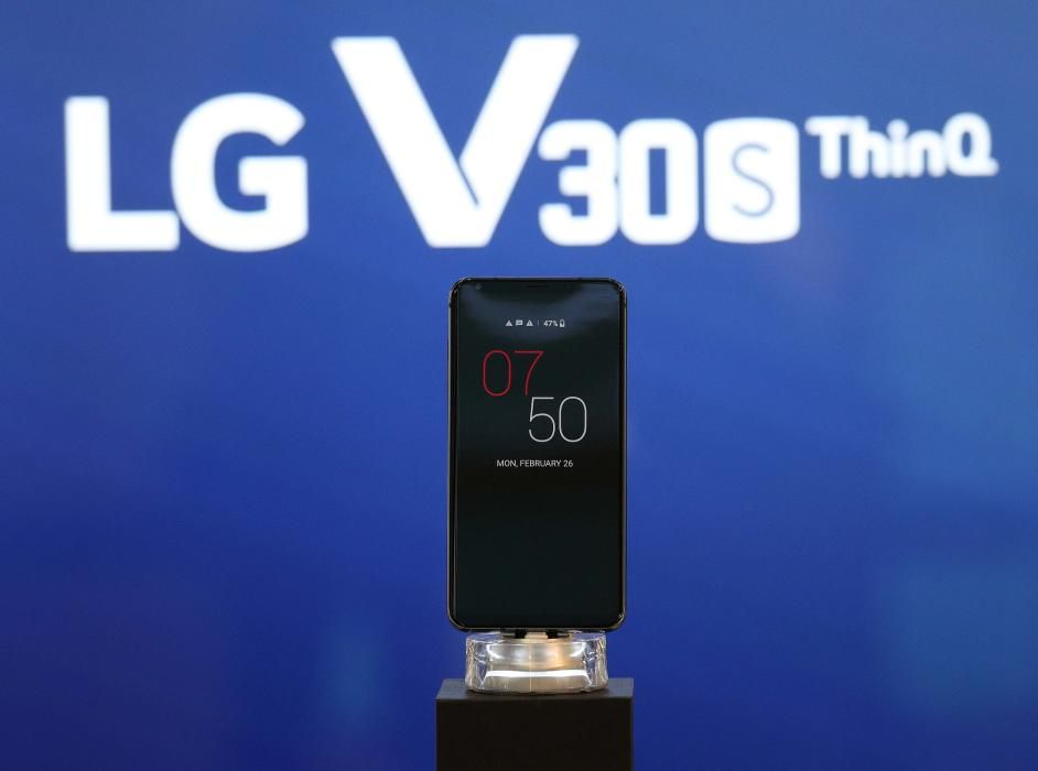The LG V30S ThinQ is seen on display during the ...