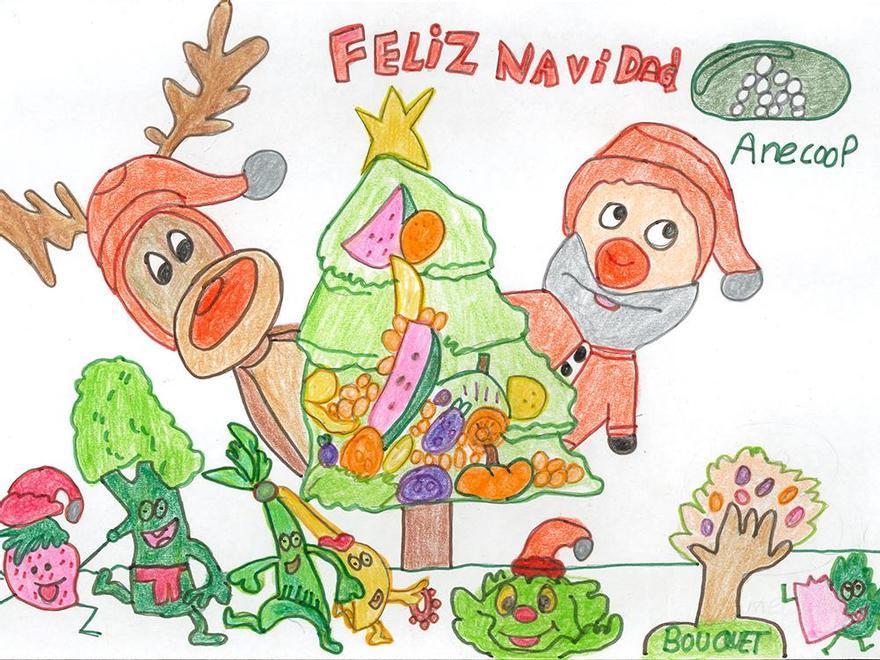 Segundo premio en categoría Juvenil del Concurso de Postales Anecoop, obra de Ismael Reverte Alcázar, de 9 años.