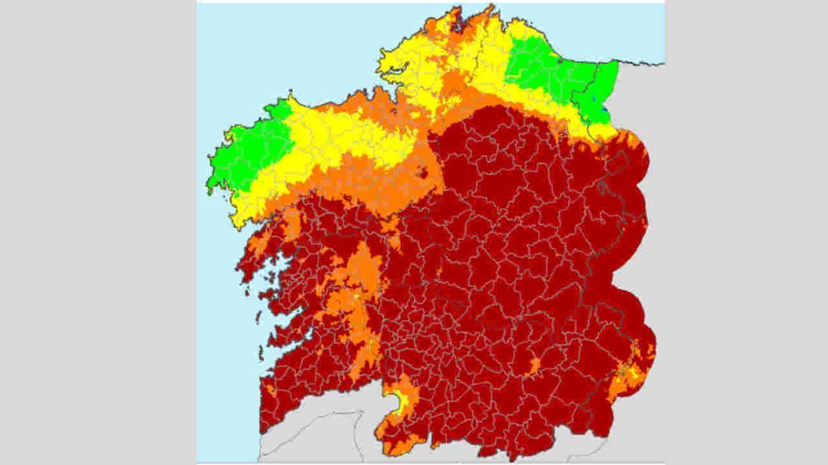 Mapa que plasmas el IRDI hoy. // Xunta