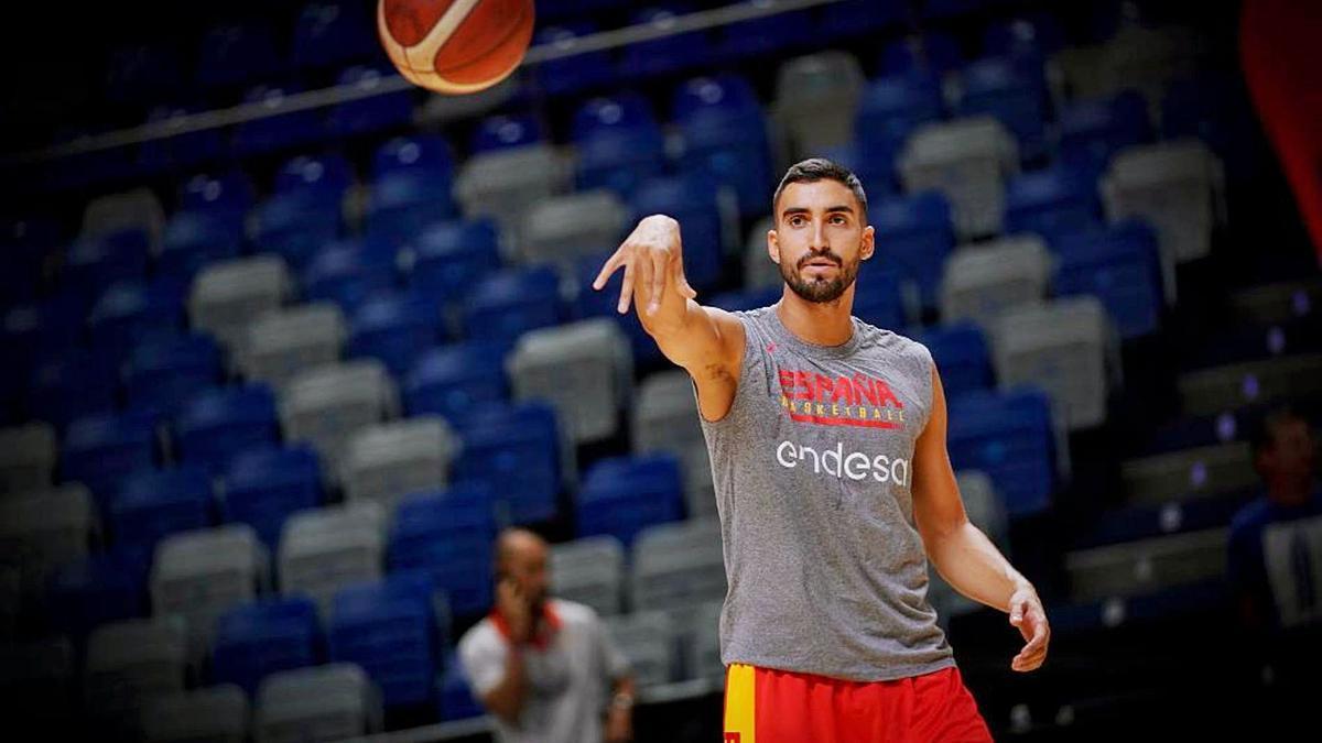 Jaime Fernández, durante un entrenamiento con la selección española en el Martín Carpena. | FEB