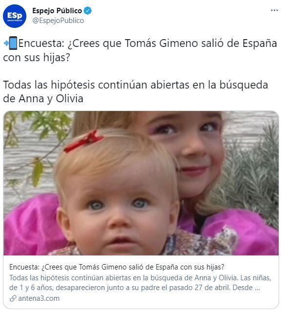 Encuesta de Espejo Público sobre las niñas de Tenerife