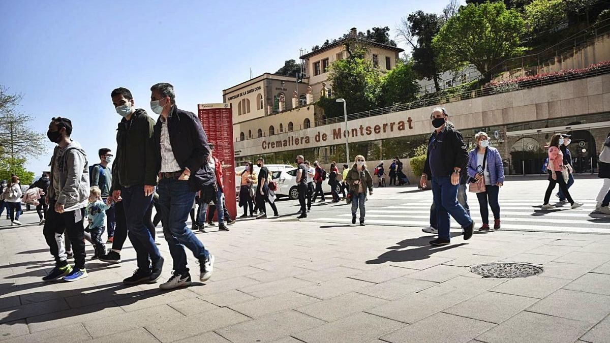 Accés al monestir de Montserrat per Setmana Santa,  en què la mobilitat no ha fet augmentar els casos
