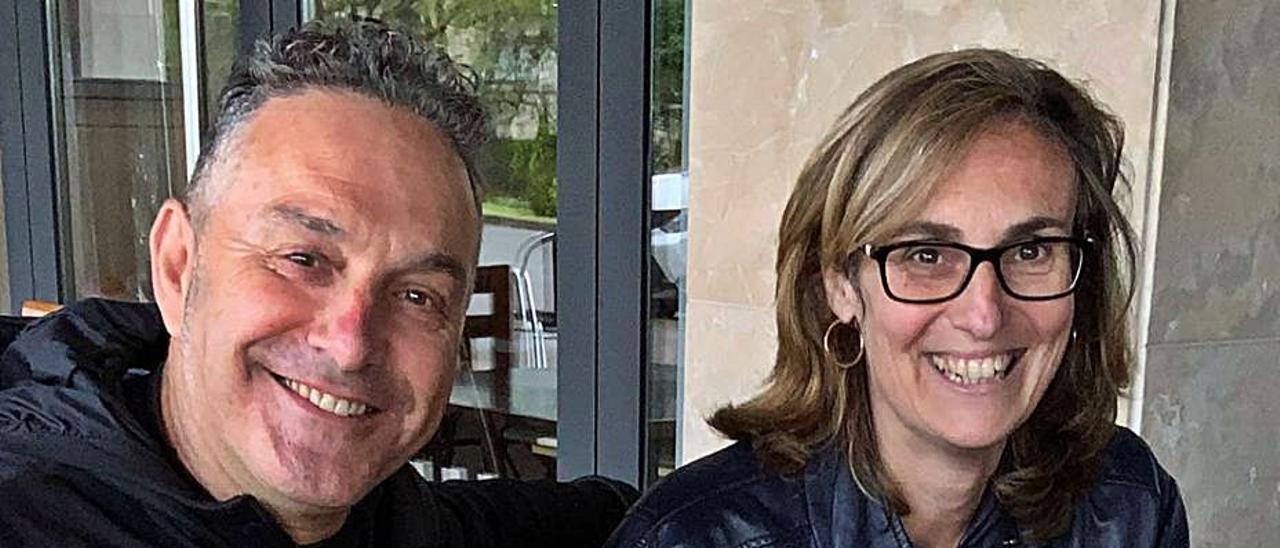Ángel Fernández y Ester Sánchez, en Noreña. | A. I.