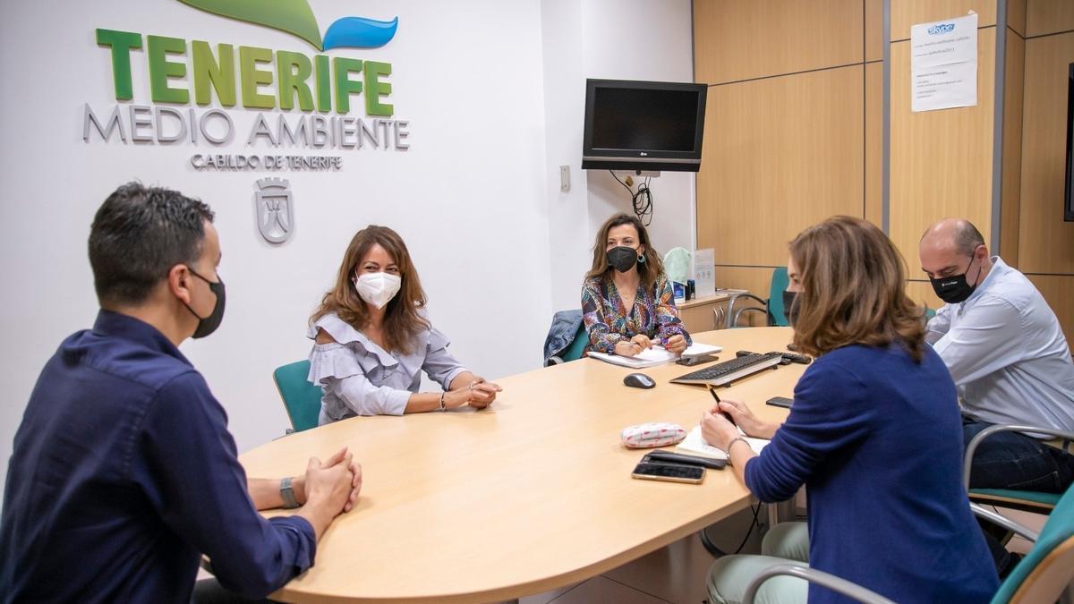 La consejera del área de Gestión del Medio Natural y Seguridad del Cabildo de Tenerife, Isabel García, se reúne con el diputado Héctor Gómez