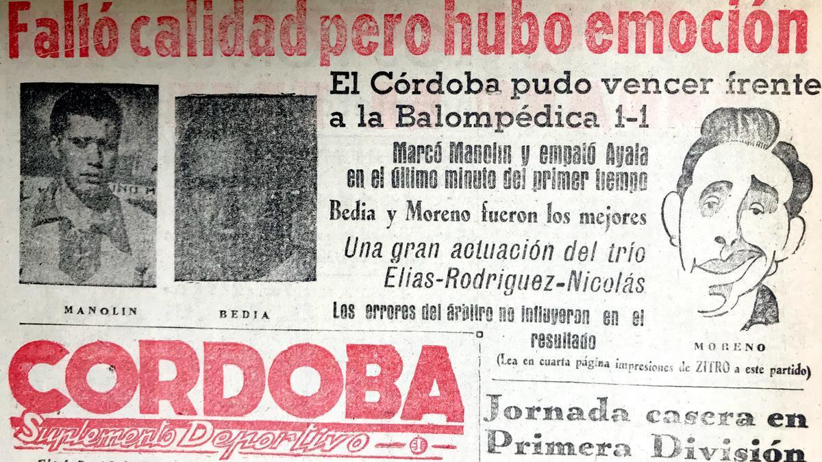 Crónica de la visita del RCD Córdoba a la Balompédica Linense en 1950.