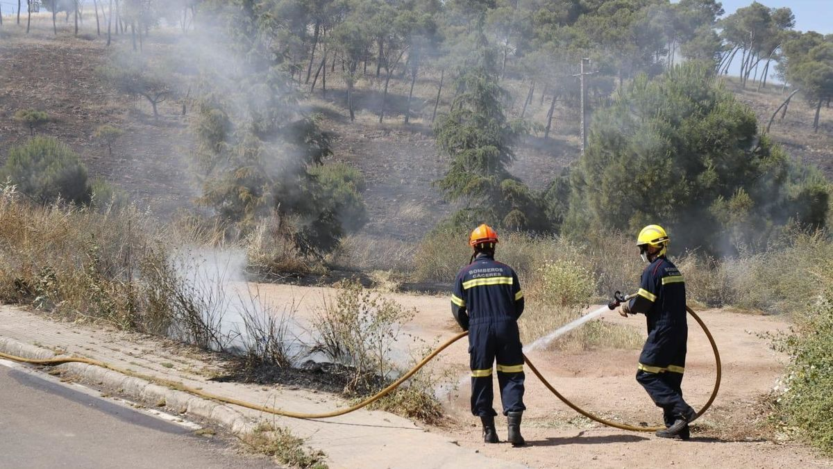 Bomberos sofocan las llamas del incendio en el Cerro de los Pinos, este miércoles.