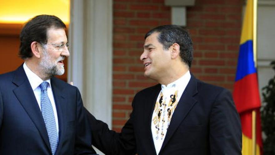Rafael Correa se reune con Rajoy en su visita España