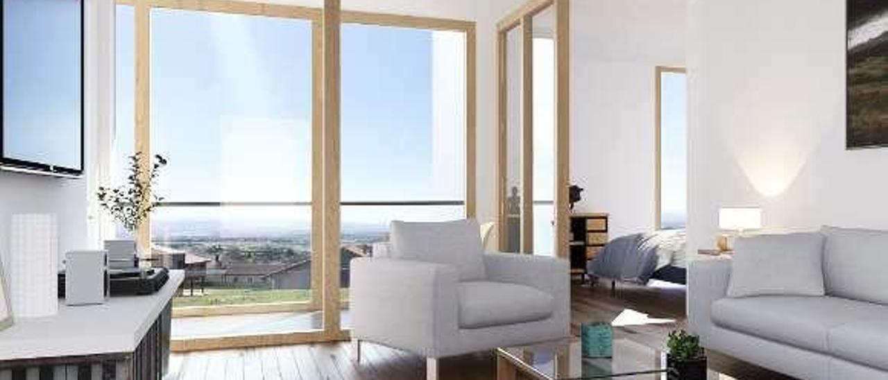 """Recreación de un salón con el """"invernadero"""" en la terraza del proyecto de obra de Nacho Cabal."""