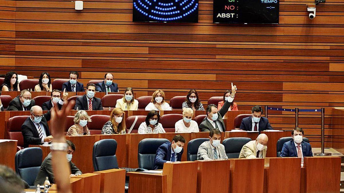Votación en el pleno de las Cortes de Castilla y León, en la segunda jornada del debate de la comunidad.