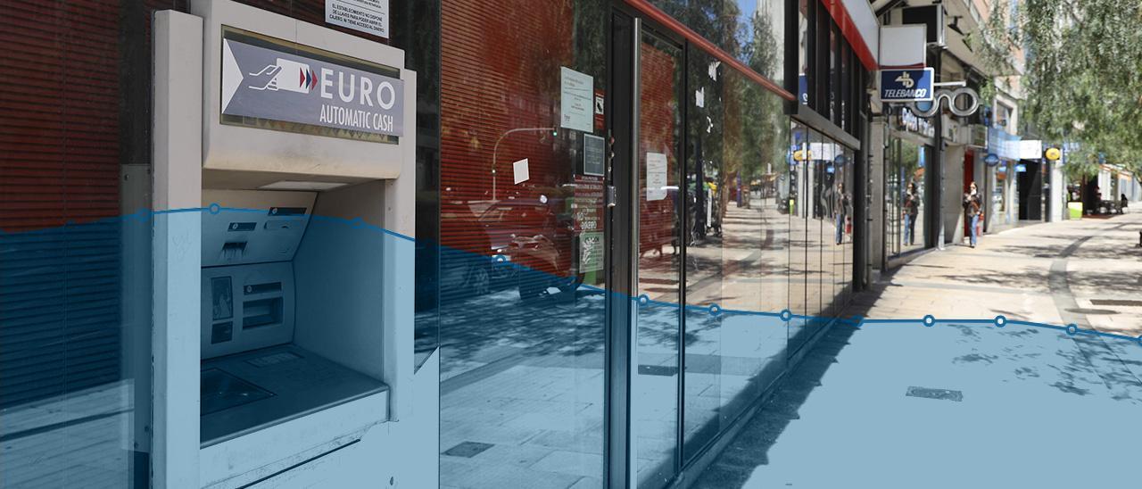 Imagen de fondo: Local vacío de la antigua sucursal del Banco Pastor en Vigo