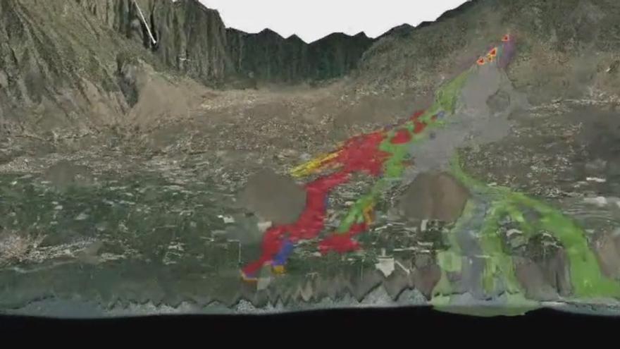 Vuelo 3D sobre la evolución de las coladas de lava al norte del volcán de La Palma a 20/10/2021