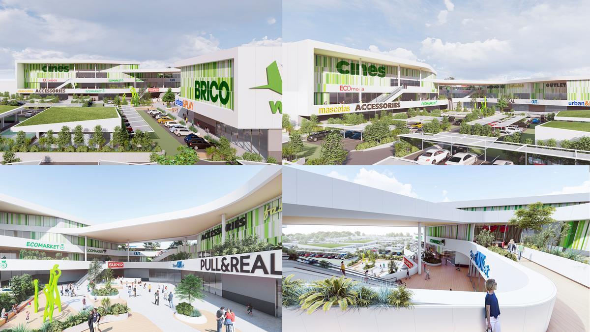Imágenes de bocetos de distintos espacios del centro comercial y de ocio proyectado en la parcela del antiguo matadero, junto al hiper de Carrefour.